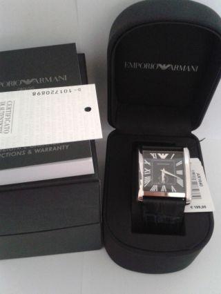 Emporio Armani Ar1640 Herren Uhr Leder Schwarz Uvp 199,  - Box Bild