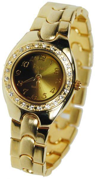 Damenuhregold Luxus Strass Damenuhr Goldene Armbanduhr Bicolor D.  G.  U. Bild