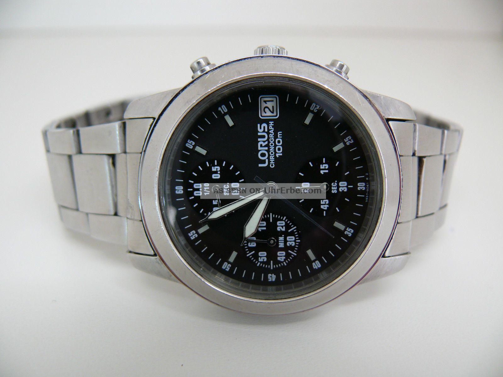 Lorus V657 - X052 Herren Flieger Armbanduhr 10 Atm Wr Seiko Werk Aviator Armbanduhren Bild