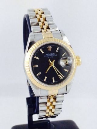 Rolex Lady Datejust Ref 69173 Steel Gold 26mm Damenuhr Black Dial Bild