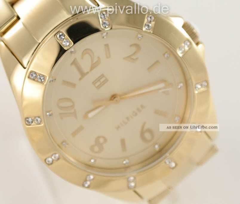 Tommy Hilfiger Damenuhr / Damen Uhr Edelstahl Gold Strass 1781328 Armbanduhren Bild