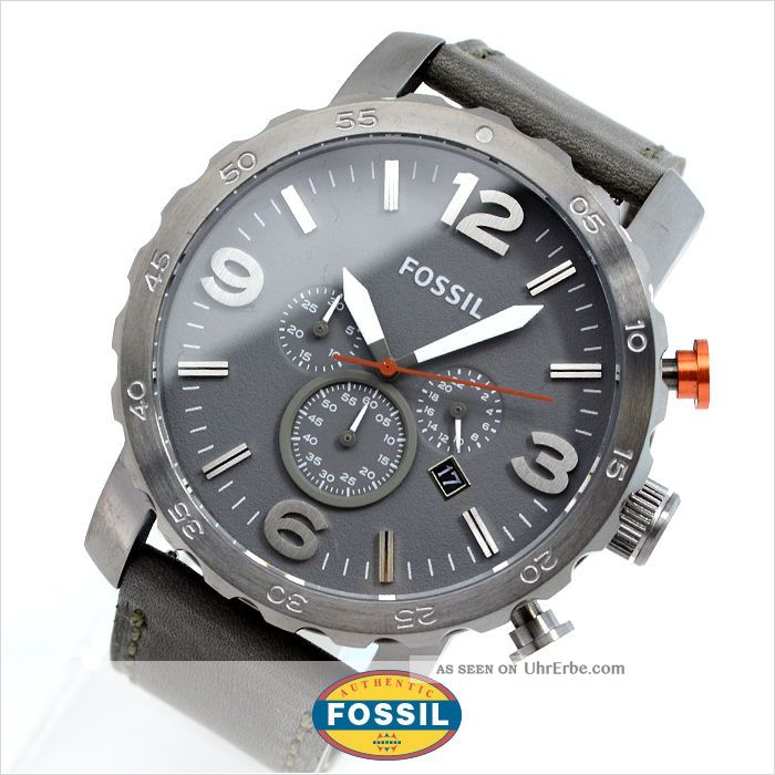 fossil nate uhr herren fliegeruhr chronograph grau. Black Bedroom Furniture Sets. Home Design Ideas