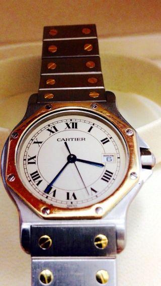 Santos De Cartier Armbanduhr Quartz Gold,  Stahl Sehr Edel Bild