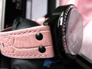 Tw Steel Canteen Uhr Swarovski Rosa Pink Xl Oversized Tw 911 Leder Schwarz Bild
