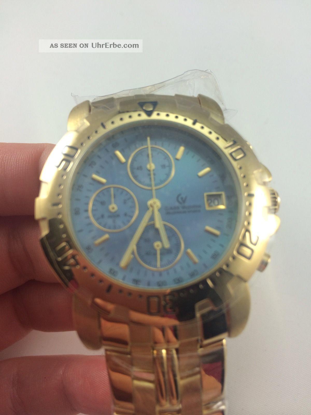 Claude Valentini Herren Uhr Goldfarbig Selten Analog Armbanduhren Bild