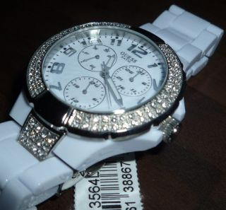 Guess Damen Uhr Armbanduhr Prism Weiß Mit Kristallsteine W13564l1 Luxus Ovp Bild