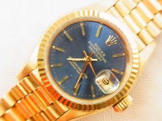 Rolex Lady Datejust Gg Saphir Präsident Klassiker 18kt Gold 1986 Automatik Bild