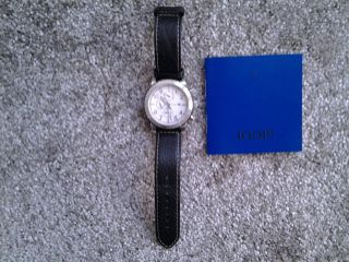 Wie Joop Herrenuhr Chronograph Lederarmband Blau Faltschließe Uvp 289,  00€ Bild