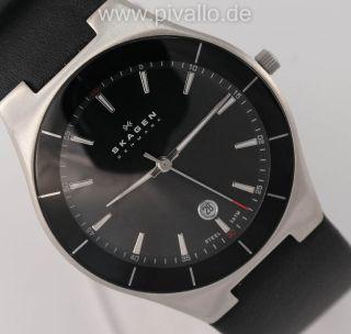 Skagen Herrenuhr / Herren Uhr Leder Schwarz Silber Datum Skw6039 Bild