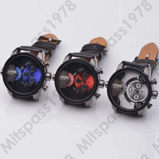 Trend Oulm Mega Xxl Dual Zeit Analog Quarz Uhr Herren Damen Leder Armbanduhr Bild