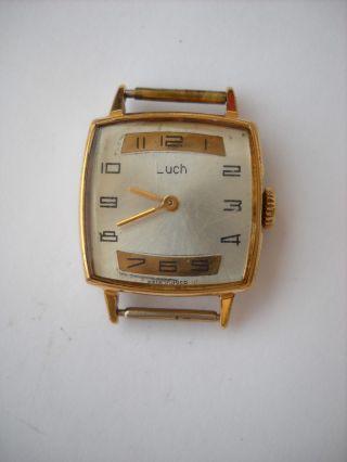 Luch,  Russische Uhr,  Damen Armbanduhr,  Handaufzug Vergoldet,  älter,  Ussr,  60er Jahre Bild