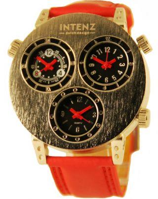 Intenz Three Timer Armbanduhr Leder Rot Herrenuhr Mit Drei Uhrwerken Bild