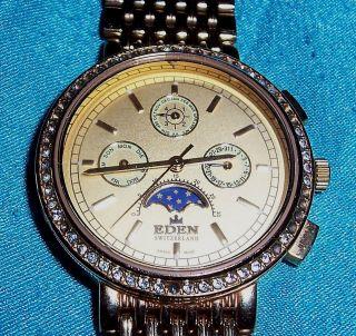 Armbanduhr Eden Switzerland 11053h,  Datum,  Monats & Mondphasenuhr Bild