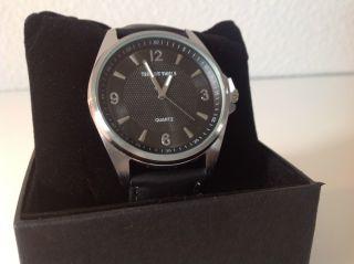 Panton Thiele Schwarze Quarz Armbanduhr Inkl.  Lederarmband Bild