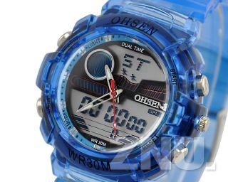Blau Unisex Damen Herren Kinder Sport Quarz Uhr Licht Armbanduhr Analog&digital Bild