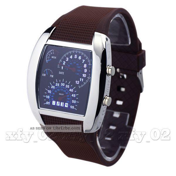 Clock Race Car Led Datum Coffee Band - Mann - Jungen - Sport - Armbanduhr Uhren Armbanduhren Bild