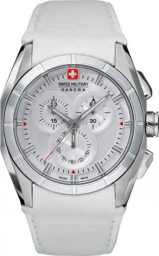 Swiss Military 42 Mm Chronograph Edelstahl Uhr Herrenuhr Analog Leder Weiss Bild