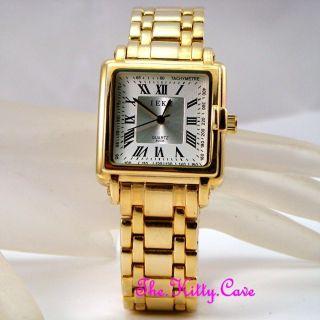 Retro Designer Quadratischer Gold Pltd & Silver White Herren Herren - Armbanduhr Bild
