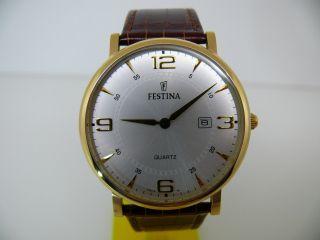 Festina F16478 Herren Armbanduhr Flach Vergoldet 3 Atm Wr Classic Watch Bild