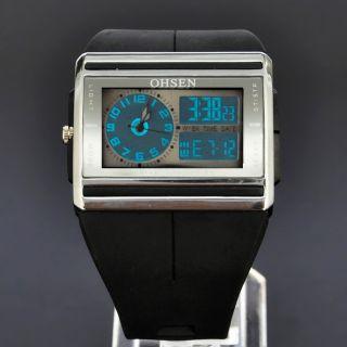 Cool Lcd Licht Ohsen Schwarz Analog Digital Herren Quarz Gummi Armband Uhr Bild
