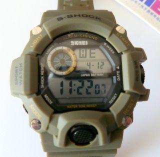Herren Armbanduhr Skmei 1019 Digital Militär Sportuhr,  50 Meter Wasserdicht Oliv Bild