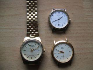 Defekte Uhrsammlung Für Uhrmacher 3 Stück Adec Quartzuhr Sammlung An Bastler Bild