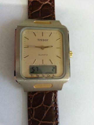 Tissot Two Timer Alarm Chronograph Stahl - Gold T - Swiss - T Neuwertig Aus Sammlung Bild