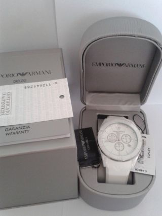 Emporio Armani Ar1435 Keramik Weiss Herrenuhr Chronograph Uvp 449,  - Bild