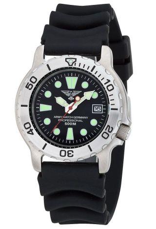 EichmÜller Uhr Army Watch 500 Taucher Uhr 50 Atm (500m) Edelstahl Seiko Vx - Werk Bild
