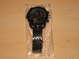 Intenz Xxl Monster Watch Armband Herren Uhr Schwarz Rot Dual Tritimer 3 Werke Bild