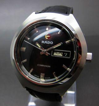 Schwarzer Rado Companion 21 Jewels Mit Tag/datumanzeige Mechanische Uhr Bild