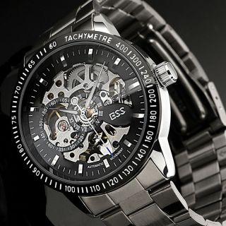 D Herrenuhr Automatik Armband Uhr Edelstahl Skelett Bild