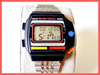 80er Vintage Sun Dial Uv - B Elektronikuhr Quartz Lcd 80´s Bild