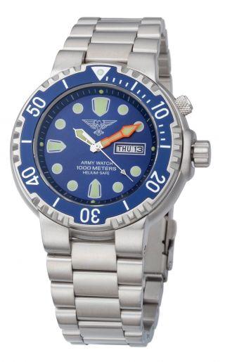 EichmÜller Taucher Uhr Army Watch 1000 M Edelstahl Helium Ventil Seiko Vx,  Blau Bild