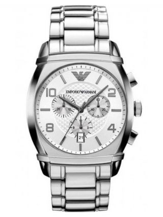 Emporio Armani Ar0350 Herren Uhr Edelstahl Silber Uvp 359,  - Box Bild