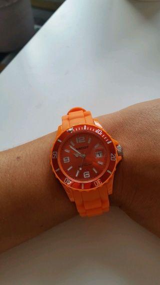 Uhr Silikon Orange Damenuhr Herrenuhr Bild