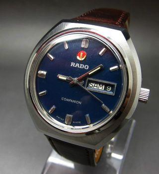 Dunkel Blaue Rado Companion 25 Jewels Mit Tag/datumanzeige Mechanische Uhr Bild
