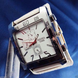 Armbanduhr Herren Damen Weiss Mit Kunst - Lederarmband Diesel Time Bild