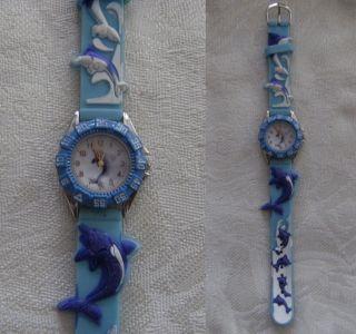 Kinderuhr Mit Delfinmotiven Aus Uhrensammlung - Ungetragen - Batterie Leer - K5 Bild