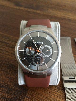 Skagen Titan Uhr Carbon Ziffernblatt Inkl Lederband 809xlttm Bild
