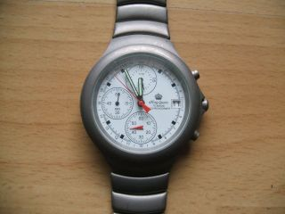 Uhr Sammlung Alte King Quartz Titanium Chronograph Herrenuhr An Bastler Bild