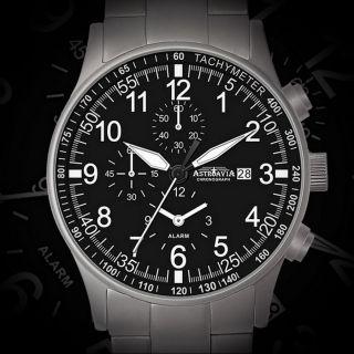 Astroavia 7 - Zeiger Uhr Alarm Chronograph H 1 Fliegeruhr Herrenuhr 2 Zeitzonen Bild