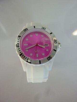 Silikon Armbanduhr Uhr Weiß Pink Silikonband Dornschließe Top Bild