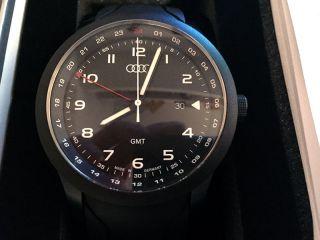 Audi Herrenuhr Quattro Armband Dreizeiger Uhr Gmt Blackline Schwarz Chronograph Bild