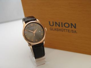 Union GlashÜtte Uhr Automatik Noramis Limited Edition 18k Gold,  Box & Papiere Bild