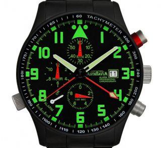 R44bs,  40mm,  Astroavia,  Alarm Chronograph,  Wecker,  Flieger Uhr,  Military Watch Bild