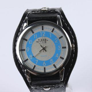 Armbanduhr Herren Damen Weiss/blau Mit Schwarzem Kunst - Lederarmband Diesel Time Bild