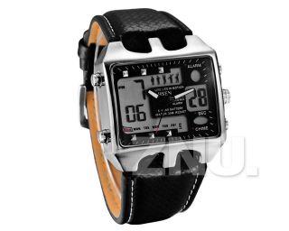 Schwarz Pu - Leder Herrenuhr Sport Uhr Armbanduhr Quarzuhr Sportuhr Watch Uhren Bild