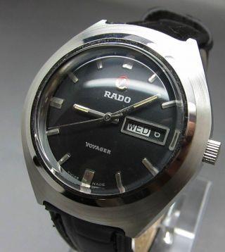 Schwarzer Rado Voyager 17 Jewels Mit Tag/datumanzeige Mechanische Uhr Bild