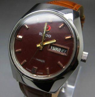 Rot Rado Companion 25 Jewels Mit Tag/datumanzeige Mechanische Automatik Uhr Bild